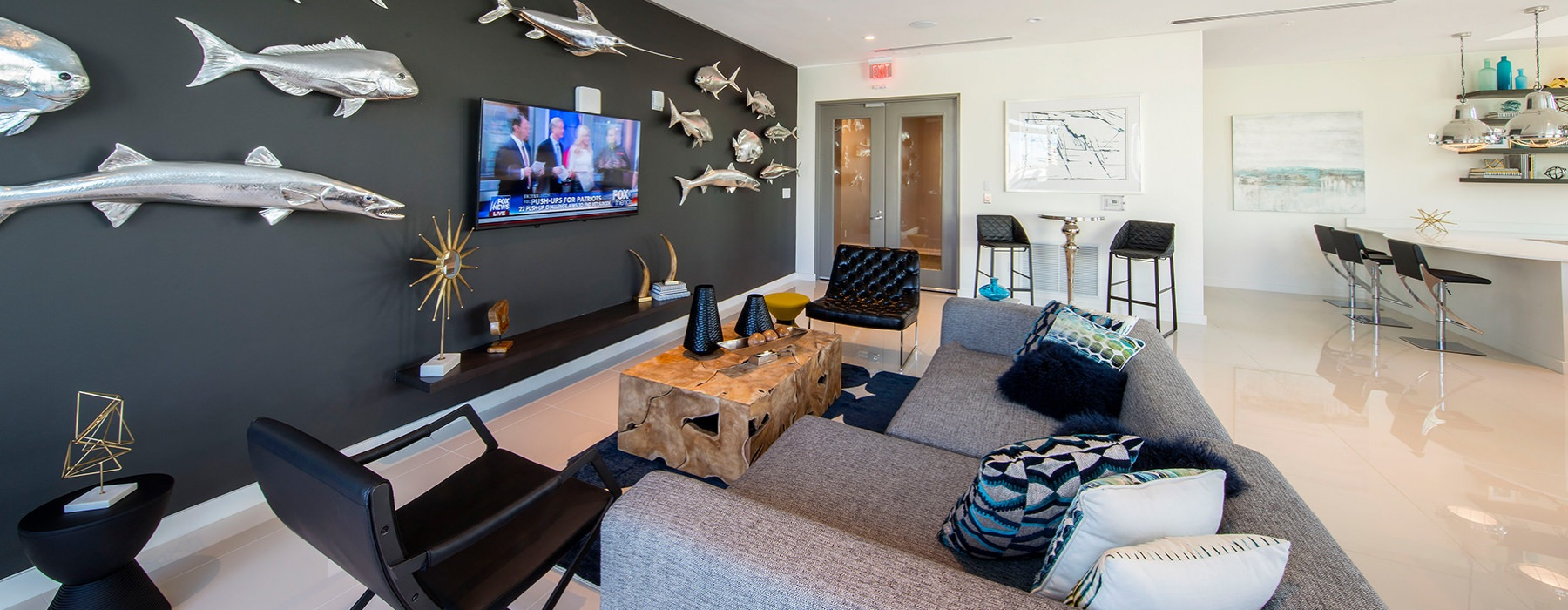 Resident lounge with comfortable seating and entertainment